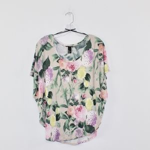 H & M Women's Butterfly Sleeve Floral Top Small S